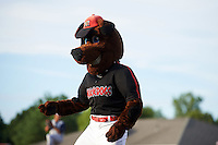 Batavia Muckdogs mascot Homer dances on the field in between innings during a game against the Brooklyn Cyclones on July 4, 2016 at Dwyer Stadium in Batavia, New York.  Brooklyn defeated Batavia 5-1.  (Mike Janes/Four Seam Images)
