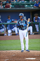 Ramon Rodriguez (7) of the Ogden Raptors bats against the Grand Junction Rockies at Lindquist Field on June 14, 2019 in Ogden, Utah. The Raptors defeated the Rockies 12-0. (Stephen Smith/Four Seam Images)