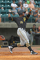 Bristol Pirates outfielder Jeremias Portorreal (16) at bat during a game against the Greeneville Reds at Pioneer Field on June 19, 2018 in Greeneville, Tennessee. Bristol defeated Greeneville 10-2. (Robert Gurganus/Four Seam Images)