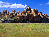 Scenic view of the 'backside' of the Needles rock formations in the Needles District of Canyonlands National Park. Utah.