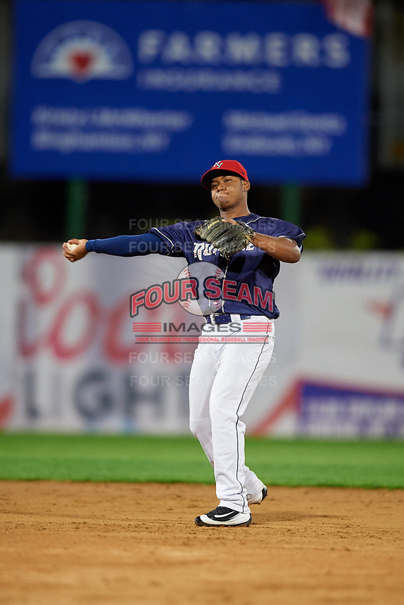 Binghamton Rumble Ponies second baseman Oliver Pascual (3) throws to first base during a game against the Portland Sea Dogs on August 31, 2018 at NYSEG Stadium in Binghamton, New York.  Portland defeated Binghamton 4-1.  (Mike Janes/Four Seam Images)