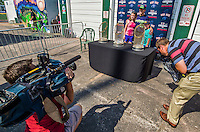 29 June 2014:  Modern era Boston Red Sox World Series Trophies are captured by local media prior to a game between the Vermont Lake Monsters and the Lowell Spinners at Centennial Field in Burlington, Vermont. The Lake Monsters fell to the Spinners 7-5 in NY Penn League action. Mandatory Credit: Ed Wolfstein Photo *** RAW Image File Available ****