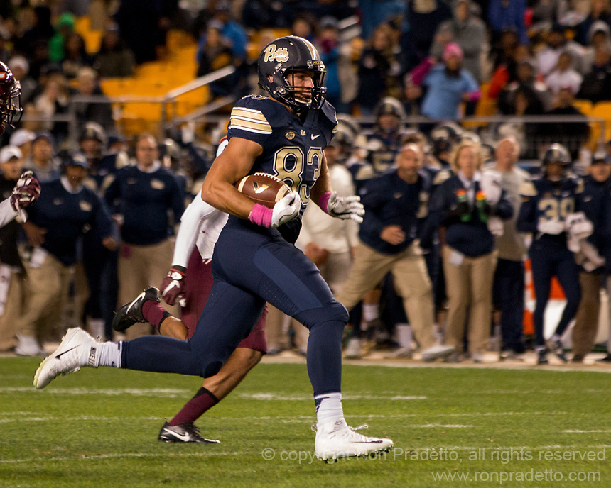 Pitt tight end Scott Orndoff. The Virginia Tech Hokies defeated the Pitt Panthers 39-36 on October 27, 2016 at Heinz Field in Pittsburgh, Pennsylvania.
