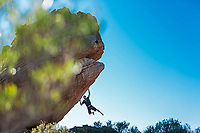 Ned Feehally trying hard to stay on 'Shosholoza' 8A+, Sassies, Rocklands, South Africa