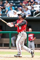 Dave Sappelt (6) of the  Carolina Mudcats during a game vs. the Jacksonville Suns May 31 2010 at Baseball Grounds of Jacksonville in Jacksonville, Florida. Jacksonville won the game against Carolina by the score of 3-2. Photo By Scott Jontes/Four Seam Images