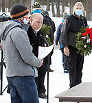 WOLCOTT CT. - 19 December 2020-121920SV07-Mayor Tom Dunn speaks during a ceremony that was held for Wreaths Across America in Wolcott Saturday. Wreaths Across America supplies wreaths for Arlington National Cemetery, has recognized Edgewood Cemetery in Wolcott as a participating cemetery in the Wreaths Across America Project. Volunteers placed 205 wreaths at the graves of U.S. Veterans that are buried at the cemetery.<br /> Steven Valenti Republican-American