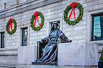 Christmas wreaths on the Boston Public Library in Copley Square, Boston, Massachusetts, USA