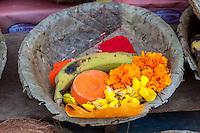 Nepal, Patan.  Offering Baskets at a Hindu Temple.  Flowers, Banana, Kumkuma (Sindoor) Powder.