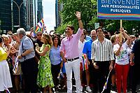 Jean-Francois Lisee, Philippe Couillard et Justin Trudeau lors du defile de la fierte , le 19 aout 2018<br /> PHOTO : Agence Quebec Presse