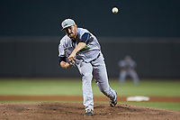 Lynchburg Hillcats starting pitcher Adam Scott (33) delivers a pitch to the plate against the Winston-Salem Dash at BB&T Ballpark on May 9, 2019 in Winston-Salem, North Carolina. The Dash defeated the Hillcats 4-1. (Brian Westerholt/Four Seam Images)