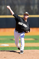 Wake Forest Demon Deacons relief pitcher Connor Kaden (40) in action against the Youngstown State Penguins at Wake Forest Baseball Park on February 24, 2013 in Winston-Salem, North Carolina.  The Demon Deacons defeated the Penguins 6-5.  (Brian Westerholt/Four Seam Images)