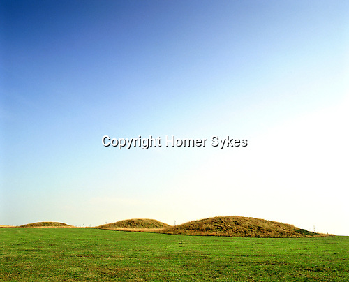 Priddy Nine Barrows. Priddy, Somerset. England. Celtic Britain published by Orion. This is the site of what was once a Bronze Age community. A grouping of nine impressive Barrows, many of them are more than three metres in height. There are other Bronze Age sites nearby.