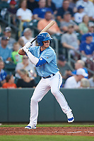 Omaha Storm Chasers Bobby Witt Jr. (7) at bat during a game against the Iowa Cubs on August 14, 2021 at Werner Park in Omaha, Nebraska. (Zachary Lucy/Four Seam Images)