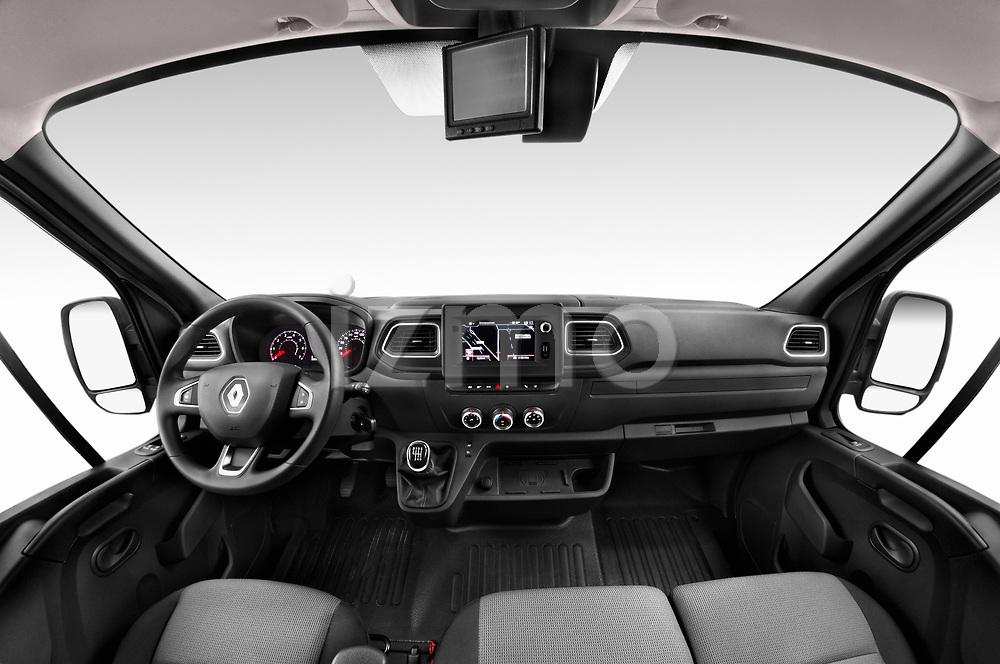 Stock photo of straight dashboard view of a 2020 Renault Master Confort 4 Door Cargo Van
