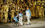Sochi, RUSSIA - Mar 7 2014 -  The paralympic flame is passed in Fisht Stadium during the Opening Ceremonies of the Sochi 2014 Paralympic Winter Games in Sochi, Russia.  (Photo: Matthew Murnaghan/Canadian Paralympic Committee)
