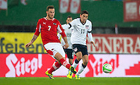 VIENNA, Austria - November 19, 2013: Alejandro Bedoya and Austria's Marko Arnautovic during a 0-1 loss to host Austria during the international friendly match between Austria and the USA at Ernst-Happel-Stadium.