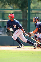 October 6, 2009:  Left Fielder Destin Hood of the Washington Nationals organization during an Instructional League game at Disney's Wide World of Sports in Orlando, FL.  Hood was selected in the 2nd round of the 2008 MLB Draft.  Photo by:  Mike Janes/Four Seam Images