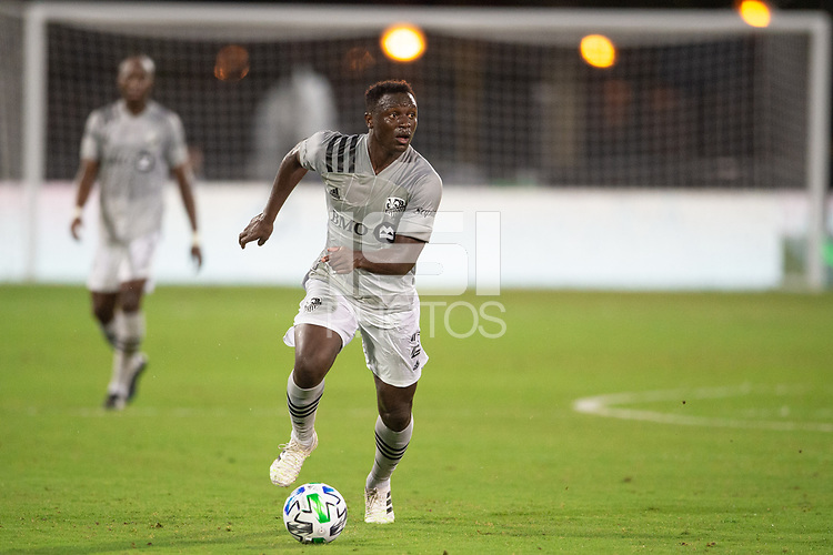 LAKE BUENA VISTA, FL - JULY 25: Victor Wanyama #2 of the Montreal Impact dribbles the ball during a game between Montreal Impact and Orlando City SC at ESPN Wide World of Sports on July 25, 2020 in Lake Buena Vista, Florida.