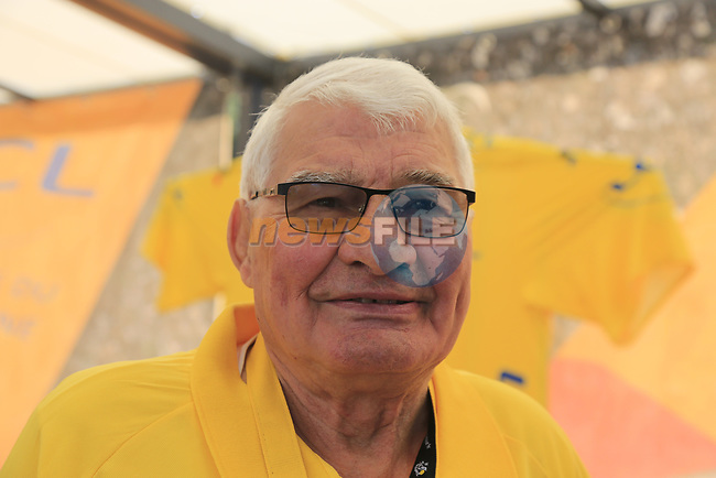 Former champion cyclist Raymond Poulidor (FRA) on the LCL stand The Tour Village at sign on in Verviers before the start of Stage 3 of the 104th edition of the Tour de France 2017, running 212.5km from Verviers, Belgium to Longwy, France. 3rd July 2017.<br /> Picture: Eoin Clarke | Cyclefile<br /> <br /> <br /> All photos usage must carry mandatory copyright credit (© Cyclefile | Eoin Clarke)
