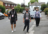 Henrik Dalsgaard of Brentford and Manager, Thomas Frank arrive at the ground wearing their face masks during Brentford vs Charlton Athletic, Sky Bet EFL Championship Football at Griffin Park on 7th July 2020