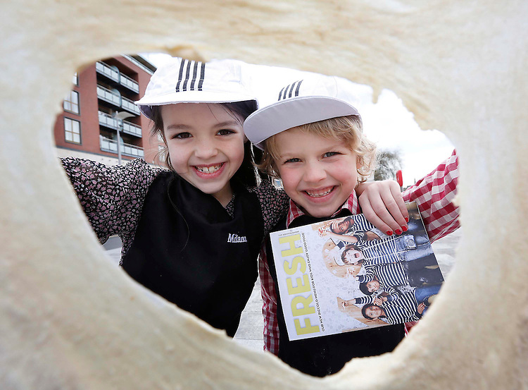 Milano re-launch of Piccolo kids menu..No Repro Fee..Ava O' Kearney, age 7 from Lucan, Co. Dublin and Cillian Lynch, age 6 from Dundalk, Co. Louth, pictured at the re-launch of the Milano Piccolo Children's Menu at the Milano restaurant at the Grand Canal, Dublin. Pic. Robbie Reynolds..Designed to look like a mini magazine, the new Piccolo menu for ?8.50, which includes four courses, is created to engage with kids using an activity page. Kids can create their own pizza, adding or removing ingredients with the option to upgrade to a Romana base (thinner, crispier) for only ?1.25.  Seed packs are also handed out so kids can grow their own herbs at home and use them in fresh cooking!..Visit a Milano restaurant near you, visit www.milano.ie for more details. .