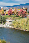 Brennan's Wave overlook on the Clark Fork River in fall color, Missoula, Montana