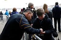 Photo: Richard Lane/Richard Lane Photography. Wasps v London Irish. Aviva Premiership. 04/03/2018. Wasps' TJ Harris signs an autograph.