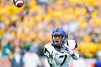 TCU wide receiver Kolby Listenbee (7) attempts to catch a pass during an NCAA football game, Saturday, October 11, 2014 in Waco, Tex. Baylor defeated TCU 61-58 to remain undefeated in BIG 12 conference. (Mo Khursheed/TFV Media via AP Images)
