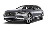 Stock pictures of low aggressive front three quarter view of a 2017 Volvo V90 Inscription 5 Door Wagon
