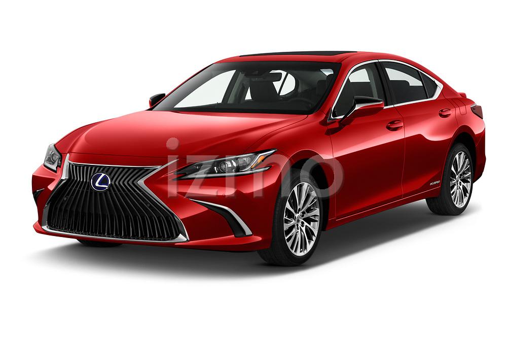 2020 Lexus ES 300h 4 Door Sedan angular front stock photos of front three quarter view