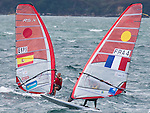 Marina Alabau (left) from Spain Charline Picon from France  in action in class  Rsx during the ISAF Sailing World Championships 2014 at the Real Club Maritimo of Santander on September 19, 2014 in Santander, Spain. Photo by Nacho Cubero / Power Sport Images