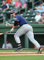 Infielder Brandon Drury (2) of the Rome Braves, an Atlanta Braves affiliate, in a game against the Greenville Drive on August 15, 2012, at Fluor Field at the West End in Greenville, South Carolina. Drury is Atlanta's No. 10 prospect according to Baseball America. Rome won, 6-1. (Tom Priddy/Four Seam Images)