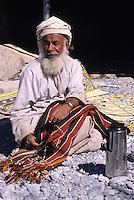 Nakhr, Wadi Ghul, Jebal Akhdar, Oman, Arabian Peninsula, Middle East - Omani Male Weaver.