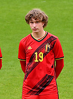 Mika Godts (19) of Belgium pictured in action during a soccer game between the national teams Under17 Youth teams of  Norway and Belgium on day 3 in the Qualifying round in group 3 on Tuesday 12 th of October 2020  in Tubize , Belgium . PHOTO SPORTPIX | DAVID CATRY