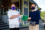 Mick Ryan, Business Support Unit of the Kerry Colleges presenting the certificate of completion in the reduction and monitoring of carbon omissions to Odran Lucey, Head Chef of the Rose Hotel