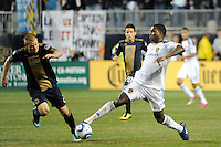 Edson Buddle (14) of the Los Angeles Galaxy plays the ball. The Los Angeles Galaxy defeated the Philadelphia Union  1-0 during a Major League Soccer (MLS) match at PPL Park in Chester, PA, on October 07, 2010.