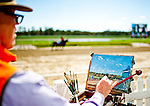 LAUREL, MARYLAND - OCTOBER 22: A artist paints in the VIP Village on Maryland Million Day at Laurel Park on October 22, 2016 in Laurel, Maryland. (Photo by Scott Serio/Eclipse Sportswire/Getty Images)