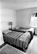 July 19th 1969, Chappaquiddick, Edgartown, Martha's Vineyard, Massachusetts. One of the bedrooms inside of the Lawrence Cottage, which was the summer house on Chappaquiddick Island where Senator Edward Ted Kennedy spent the night after he drove a car off a bridge and his aide Mary Jo Kopechne was killed.
