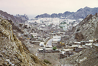 Oman, 1972.  View of Muscat.  The British Embassy is just to the right of the fort in the far background.