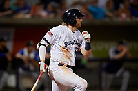 Pensacola Blue Wahoos Travis Blankenhorn (32) hits a single during a Southern League game against the Biloxi Shuckers on May 3, 2019 at Admiral Fetterman Field in Pensacola, Florida.  Pensacola defeated Biloxi 10-8.  (Mike Janes/Four Seam Images)