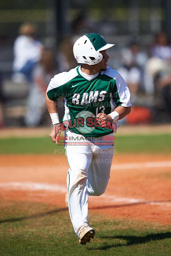 Farmingdale State Rams Nick Attardi (13) runs to first base during the first game of a doubleheader against the FDU-Florham Devils on March 15, 2017 at Lake Myrtle Park in Auburndale, Florida.  Farmingdale defeated FDU-Florham 6-3.  (Mike Janes/Four Seam Images)