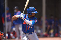 New York Mets Luis Carpio (11) bats during a Minor League Spring Training game against the Houston Astros on April 27, 2021 at FITTEAM Ballpark of the Palm Beaches in Palm Beach, Fla.  (Mike Janes/Four Seam Images)
