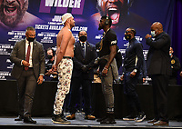 """LOS ANGELES, CA - JUNE 15: Boxers Tyson Fury and Deontay Wilder attend a press conference for the FOX Sports PPV """"Tyson Fury vs. Deontay Wilder III"""" at The Novo by Microsoft at LA Live on June 15, 2021 in Los Angeles, California. Fury vs. Wilder will be on July 24 at the T-Mobile Arena in Las Vegas. (Photo by Frank Micelotta/HULU/PictureGroup)"""