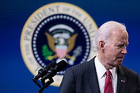 US President Joe Biden turns away from the podium after delivering remarks on the US response to the coup in Myanmar, in the Eisenhower Executive Office Building (EEOB) at the White House complex, in Washington, DC, USA, 10 February 2021.<br /> CAP/MPI/RS<br /> ©RS/MPI/Capital Pictures