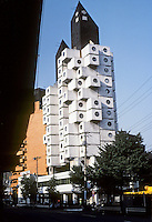 Tokyo: Nakagin Capsule Tower, 1971. Kisho Kurakowa, architect. Japanese Metabolism style. Residential and office tower. Photo '81.