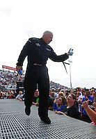May 20, 2012; Topeka, KS, USA: NHRA top fuel dragster driver Cory McClenathan during the Summer Nationals at Heartland Park Topeka. Mandatory Credit: Mark J. Rebilas-