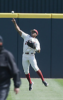 Arkansas outfielder Christian Franklin (25) throws, Saturday, April 3, 2021 during the fifth inning of a baseball game at Baum-Walker Stadium in Fayetteville. Check out nwaonline.com/210404Daily/ for today's photo gallery. <br /> (NWA Democrat-Gazette/Charlie Kaijo)