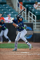 Vermont Lake Monsters Yerdel Vargas (2) at bat during a NY-Penn League game against the Aberdeen IronBirds on August 18, 2019 at Leidos Field at Ripken Stadium in Aberdeen, Maryland.  Vermont defeated Aberdeen 6-5.  (Mike Janes/Four Seam Images)