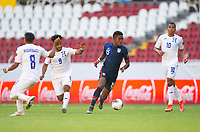 GUADALAJARA, MEXICO - MARCH 28: Andres Perea #15 of the United States moves with the ball during a game between Honduras and USMNT U-23 at Estadio Jalisco on March 28, 2021 in Guadalajara, Mexico.