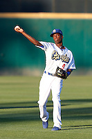 Darnell Sweeney #9 of the Rancho Cucamonga Quakes before a game against the Lake Elsinore Storm at LoanMart Field on August 6, 2013 in Rancho Cucamonga, California. Lake Elsinore defeated Rancho Cucamonga, 13-5. (Larry Goren/Four Seam Images)